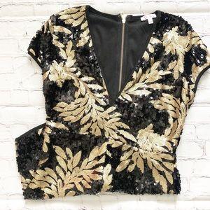 Agaci Black & Gold Sequins Romper